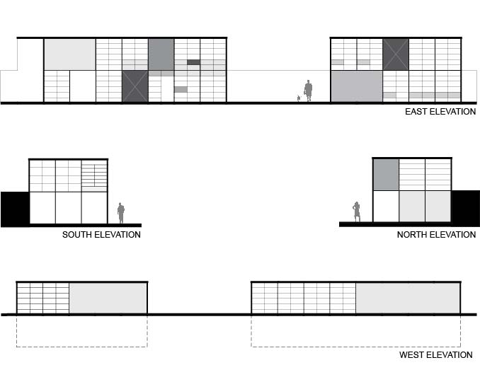 Eames House - North, South, East, and West digital elevations