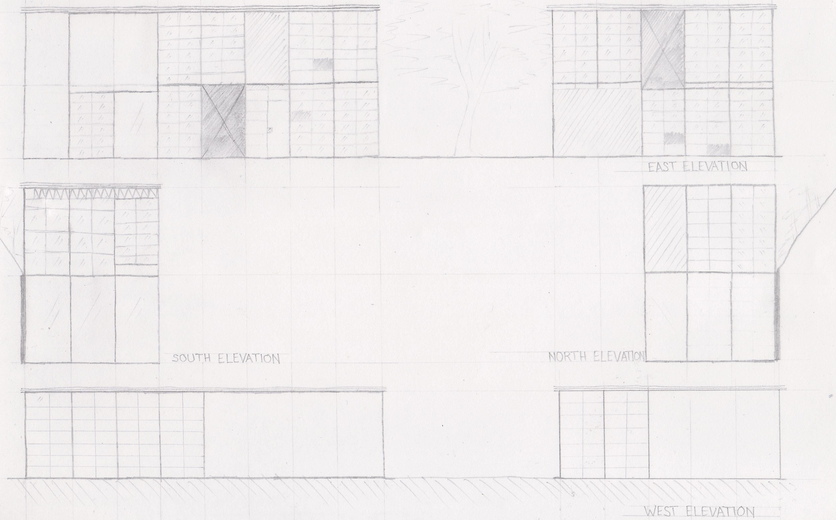 Eames House - North, South, East, and West elevation sketches